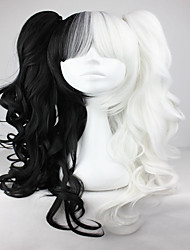 White Mix Black 70cm Classical Anime Wavy Braided Fashion Cosplay Lolita Full Wig