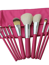 10 Makeup Brushes Set Goat Hair Professional / Portable Wood Handle Face/Eye/Lip Pink