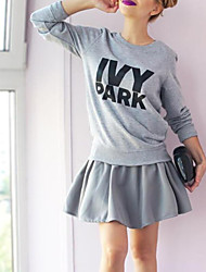 Women's Casual/Daily Simple / Active Regular Hoodies,Print Black / Gray Round Neck Long Sleeve Cotton Fall / Winter Medium Stretchy