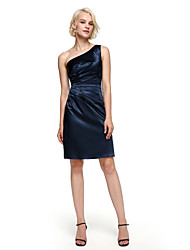 Lanting Bride®Knee-length Stretch Satin Bridesmaid Dress - Elegant Sheath / Column One Shoulder with Side Draping