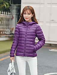 Women's Short Down Coat,Simple Casual/Daily Solid-Polyester White Duck Down Long Sleeve Hooded