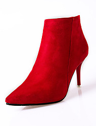 Feminino Saltos Conforto Coturnos Cashmere Inverno Casual Caminhada Conforto Coturnos Ziper Salto Agulha Preto Vermelho 7,5 a 9,5 cm