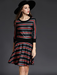 Women's Plus Size / Going out Vintage / Simple Sheath DressStriped Round Neck Above Knee  Sleeve Black Polyester