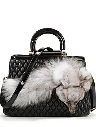 Patent Leather Diamond Rhombus Pattern Plaid Quilted Handbag Messenger Shoulder Bag Tote Ms. bags  with Fox decoration