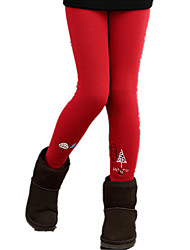 Girl Casual/Daily Cartoon Print Fleece Lined Thickness Leggings Bottom Pants