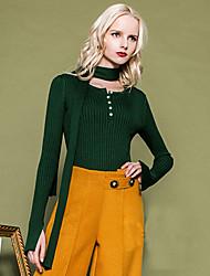 Mujer Regular Pullover Casual/Diario Simple,Un Color Marrón / Verde Escote Redondo Manga Larga Otro Primavera / Otoño Grueso Elástico