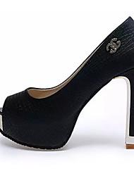 Da donna-Sandali-Formale-Comoda-A stiletto-PU (Poliuretano)-Nero / Bianco