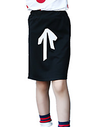 Girl's Casual/Daily Bow Patchwork Solid Black Skirt