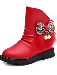 Girl's Boots Winter Comfort PU Dress / Casual Flat Heel Bowknot / Beading / Zipper Black / Red / Silver Walking