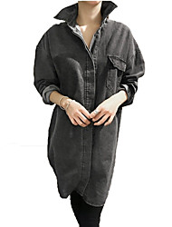 Women's Casual/Daily Vintage Fall Denim Jackets,Solid Shirt Collar Long Sleeve Blue / Black Cotton Thick