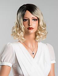 elegante mittelwelligen capless Perücken hohe Qualität menschliches Haar Mischfarbe 14 Zoll