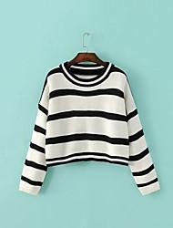 Damen Standard Pullover-Lässig/Alltäglich Einfach Gestreift Weiß Schwarz Bateau Langarm Polyester Herbst Winter Mittel Mikro-elastisch