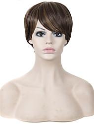 court brun cheveux raides et des perruques de couleur synthétiques mixtes blondes pour les femmes