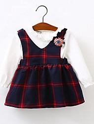 малыш Платье,На каждый день,Контрастных цветов,Хлопок,Весна / Осень,Зеленый / Красный