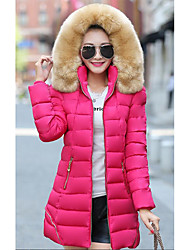 Women's Down Coat,Simple Going out Solid-Polyester Polypropylene Long Sleeve Hooded Red White Black Green