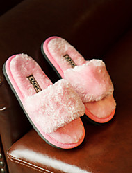 Girls' Slippers & Flip-Flops Fleece Casual Black Yellow Ruby Blushing Pink Flat