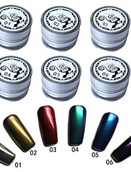 6 Pcs/Set Mirror Nail Glitter Powder Dust DIY Nail Art Sequins Chrome Pigment Decorations 6 Colors