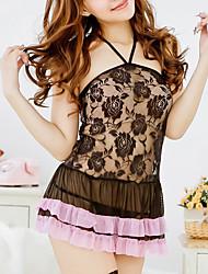 Damen Babydoll & slips Nachtwäsche,Sexy einfarbig-Dünn Spitze Polyester Schwarz