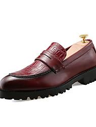 Men's Loafers & Slip-Ons Spring / Fall Comfort PU Casual Flat Heel Slip-on Black / Red Sneaker