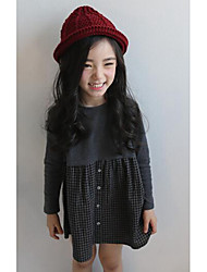 Girl Casual/Daily Check Dress,Cotton Fall Long Sleeve Long
