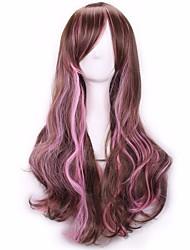 a buon mercato halloween lungo castani ondulati di colore rosa parrucca sintetica cosplay mista