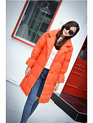 Women's Down Coat,Simple Casual/Daily Solid-Polyester White Duck Down Long Sleeve Deep V Orange