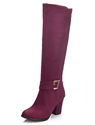 Women's Shoes Chunky Heel Round Toe Zipper Knee High Boot More Color Available