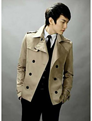 Men's Casual/Daily Simple Trench Coat,Solid Shirt Collar Long Sleeve Fall / Winter Beige / Black Cotton Medium