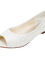Damen-Flache Schuhe-Hochzeit / Kleid / Party & Festivität-Stretch - Satin-Flacher Absatz-Others-Elfenbein
