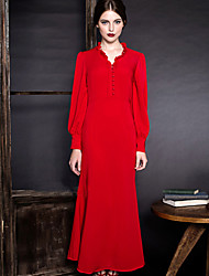 MASKED QUEEN Women's Going out Vintage Trumpet/Mermaid DressSolid V Neck Maxi Long Sleeve Red Polyester
