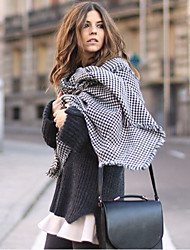 Houndstooth Scarf autumn and winter wild long section of double-sided black and white plaid wool shawl dual oversized thick