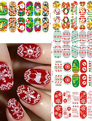 1SET Xmas Nail Wraps Luminous Glow Full Nail Sticker Christmas Santa Nail Art Decorations Foils Tips