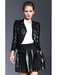 Women's Going out / Casual/Daily Simple Leather Jackets,Solid Long Sleeve Spring / Fall Black Special Leather Types Medium