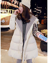Women's Long Down Coat,Simple Casual/Daily Solid-Polyester White Duck Down Long Sleeve Beige