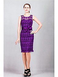 Cocktail Party Dress Sheath / Column Scoop Knee-length Lace with Sash / Ribbon