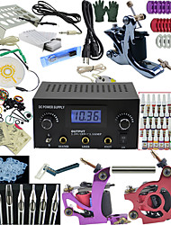 Ophir Top Tattoo Kit 3 Machine LCD Power Supply 40 Inks Needles Grips Set_TA005