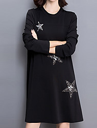 Women's Plus Size / Going out / Casual/Daily Street chic Loose / Little Black DressSolid Long Sleeve Black