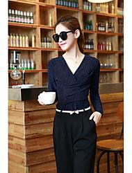 Damen Solide Einfach Lässig/Alltäglich T-shirt,V-Ausschnitt Herbst Langarm Mehrfarbig Andere Dünn