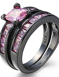 Black Ring Sets  Black Color Zircon Pink Purple Fashion Lady Finger Rings New Jewelry for Women Wedding Rings