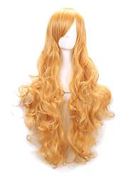 venta caliente de color amarillo sintéticas pelucas cosplay pelucas baratas para las mujeres del partido