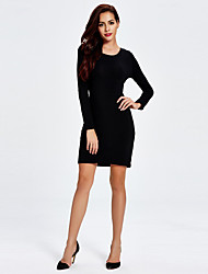 1287 Women's Club Sexy A Line DressSolid Sided wear Round Neck Above Knee Long Sleeve Black Cotton
