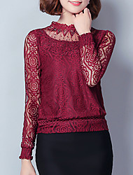Women's Going out / Casual/Daily Vintage / Street chic Spring / Fall BlouseSolid Stand  Pink / White / Black /Wine