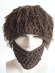 Women Men Personalized Beard Hair Tassel Hand Knitting Wool Solid Color Warm Winter Hat