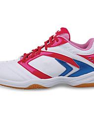 unissex executando calçados esportivos caem conforto couro plataforma atlético lace-up amarelo / vermelho badminton / fúcsia