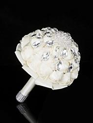 Fleurs de mariage Rond Bouquets Mariage La Fête / soirée Satin Soie Perle Cristal Strass Métallique Env.28cm