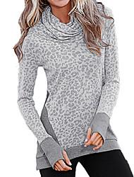 Damen Leopard Einfach Ausgehen / Lässig/Alltäglich T-shirt,Rollkragen Herbst / Winter Langarm Grau Polyester Undurchsichtig