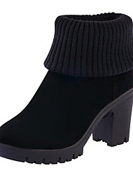 Women's Boots Winter Comfort Cowhide Casual Chunky Heel Split Joint Black Gray Walking