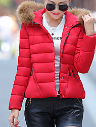 Women's Short Padded CoatSimple / Street chic Slim All Match Going out / Casual/Daily Fur Trim Solid Long Sleeve Hooded