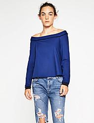 Damen Solide Einfach Lässig/Alltäglich T-shirt,Bateau Alle Saisons Langarm Blau Baumwolle / Polyester Mittel