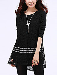 Women's Lace Plus Size / Going out / Work Punk & Gothic / Sophisticated Sheath Dress,Solid Round Neck Above Knee Long Sleeve Black RayonAll
